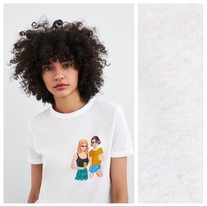 NWT. Zara White 100% Cotton T-shirt. Size M.